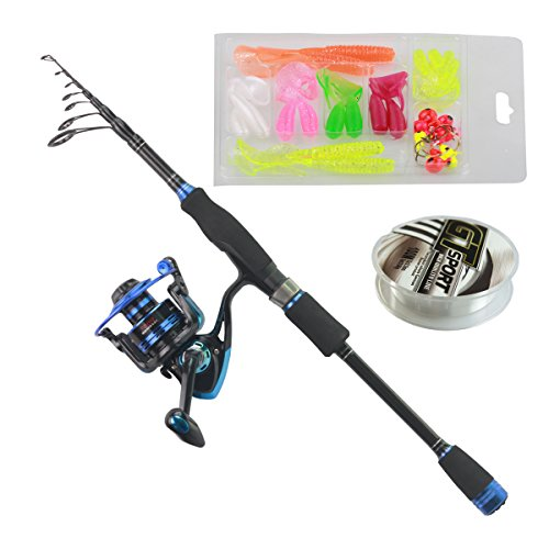 Himenlens B30 Beginner Leisure Spinning Fishing Rod and Reel Combos Telescopic Fishing Rod with Reel Combo Saltwater Freshwater Kit