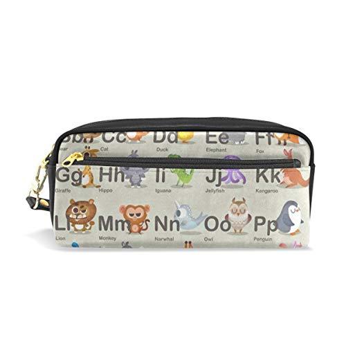 Pencil Case/Makeup Bags Hipster Animal Alphabet ABC Cat Elephant Fox Big Capacity Portable Pencil Bag for -