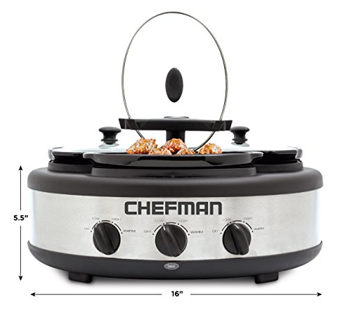 Chefman Triple Slow Cooker & Buffet Server with 3 Removable 1.5 Qt. Oval Crocks, Pot Inserts Individually Heat Controlled, Locking Lid Straps, Spoon & Lid Rests, Stainless Steel by Chefman (Image #7)