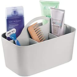 mDesign Bathroom Shower Caddy Tote for Shampoo, Soap, Razors - Light Gray