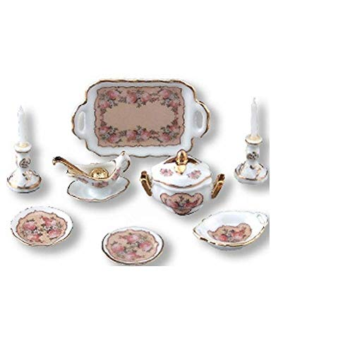 SALE Dollhouse Dinner/2 Reutter 1.384/8 Classic Rose Candles Tureen ()