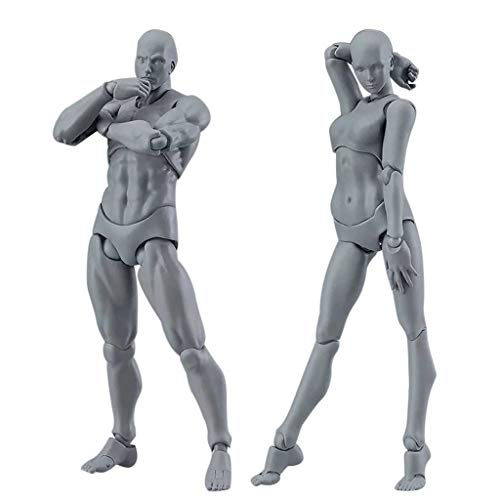 COLOR-LILIJ Drawing Figures for Artists Action Figure Model Human Mannequin Man and Woman Set,with Accessories Kit for Sketching, Painting, Drawing, Artist