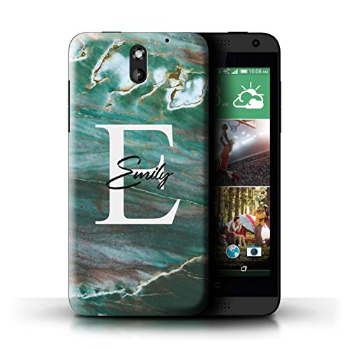 Personalized Custom Marble Stone Fashion Case for HTC Desire 610 / Teal Green Monogramme Design/Initial/Name/Text DIY - 610 For Teal Htc Cases Desire