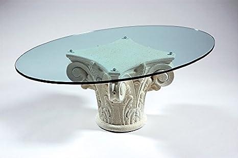 Tavolini Da Salotto Cristallo E Pietra.Tavolino Con Base Marmo Piano Vetro Da Salotto Mod Corinto