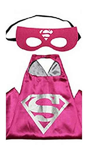 Girl Capes (Honey Badger Brands Dress Up Comics Cartoon Superhero Costume with Satin Cape and Matching Felt Mask, Super Girl, Pink Plus Silver)