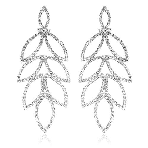 RIAH FASHION Sparkly Geometric Rhinestone Chandelier Hoop Statement Earrings - Cubic Zirconia Crystal Bridal Duster Dangles Fringe Tassel/Waterfall Drape/Circle Ring (Art Deco Laurel Leaf - ()