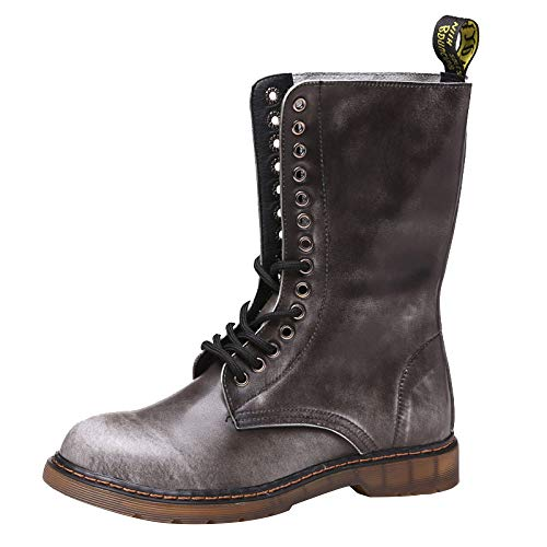 Impermeabile Pelle Velluto Inverno Retrò top Lavoro Uomo Brown Stivali High Martin Da Maschile Shoes In Calzature Più Militari SCt78