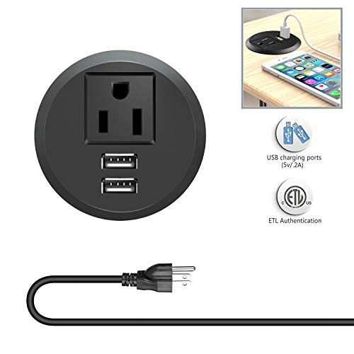 (Desktop Power Grommet Outlets with USB Ports, Recessed 2 inch Hole Grommet Power Strip Socket, Plug-in 1 Plug Connect 6.5 ft Heavy Duty Extension Cord, Suitable Conference Room Office Kitchen Table)