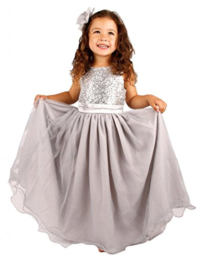 Bow Dream Flower Girl's Dress Sequins Tulle Silver 10