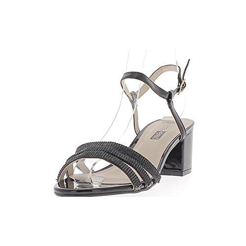 Sandales noires à gros talon de 6cm fines brides vernies ou strass