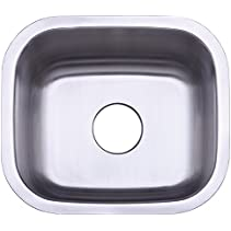 Kingston Brass Gourmetier GKUS16168 Undermount Single Bowl Bar Sink 16x16x8 (LxWxD) Brushed Stainless Steel