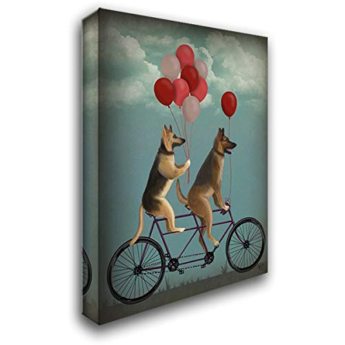 German Shepherd Tandem 42x56 Extra Large Gallery Wrapped Stretched Canvas Art by Fab Funky