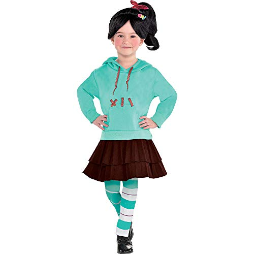 (Suit Yourself Wreck-It Ralph 2 Vanellope Costume for Girls, Size 3-4T, Includes a Dress, Leggings, Hair Clips, and)