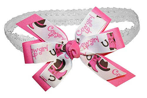 WD2U Baby Girls Pink Cowgirl Up Rodeo GrosGrain Hair Bow Stretch Headband USA