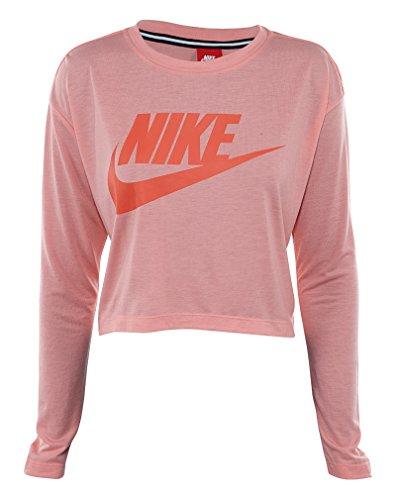 Nike Dame Afgørende Langærmet Hbr Afgrøde Top Skjorte Lyse Melon / Max Appelsin D9Vgpd1mNY