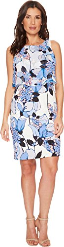 Ivanka Trump Womens Scuba Printed Sleeveless Georgette Popover Dress Ivory/Blue 12 One Size