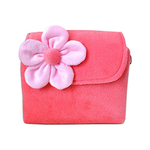 Mily Little Girls Fashionable Fun Fuzzy Floral Handbag Adorable Flower Purse 3D Flower Handbag Crossbody Bag (Pink)
