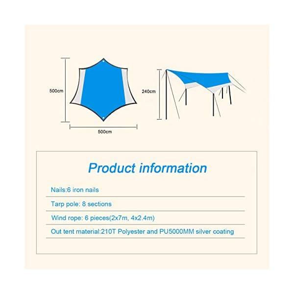 OVERMONT 5m x 5m Sonnensegel Camping Plane wasserdichte Zeltplane Sonnenschutz Sun Shelter Außenzelt mit Zeltheringen…