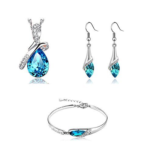 [Angel Teardrop Womens Silver Swarovski Elements Crystal Bangle Bracelet earring necklace (Jewelry] (Necklaces And Earrings)