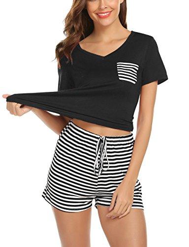 hellow friends Women Pajamas Set Soft Cotton Short Sleeve Stripe Short Bottom Two-Piece Comfy Sleepwear Loungewear