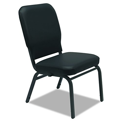Alera BT6616 Oversize Stack Chair Antimicrobial Vinyl Upholstery, Black by Alera