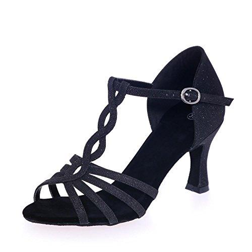Los Pie Cuero De Las Artificial 5cm Del 7 yc Con L Zapatos Sandalias Bailan Baile Black Mujeres Dedo xq44gYwfH