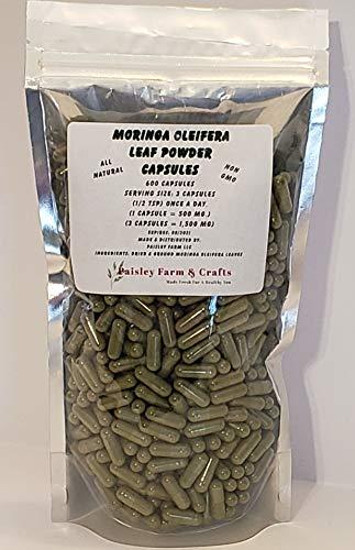 Moringa Oleifera Leaf Capsules Non GMO - All Natural- 100% Pure Leaf Powder! (600) - Made Fresh On Demand!