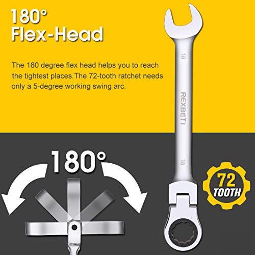 REXBETI 12-Piece Metric Flex-Head Ratcheting Wrench Set, 8-19MM, Chrome Vanadium Steel Combination Wrench Set With Durable Blow Mold Case by REXBETI (Image #3)