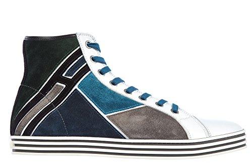 Hogan scarpe sneakers alte uomo camoscio nuove rebel mosaico bianco