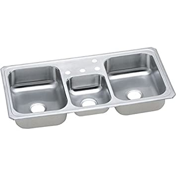 elkay cmr43223 celebrity gourmet three bowl kitchen sink 43 u0026quot      elkay cmr43223 celebrity gourmet three bowl kitchen sink 43   x 22      rh   amazon com