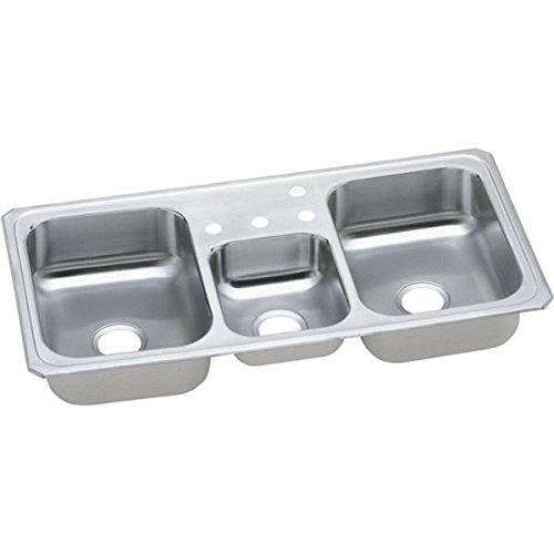 Elkay CMR43221 1-Hole Gourmet Double Basin Drop-In Stainless Steel Kitchen Sink, 22-Inch x 43-Inch (Basin Triple Sink)