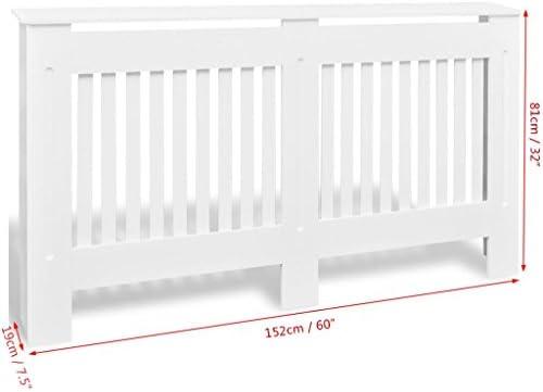 vidaXL Radiator Cover Heating Cabinet 152cm White MDF Home Wall Heater Shelf