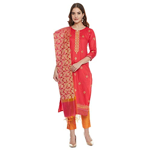 PinkShink Women's Readymade Red and Orange Pure Cotton Indian/Pakistani Salwar Kameez with Banarasi Silk Dupatta (M)