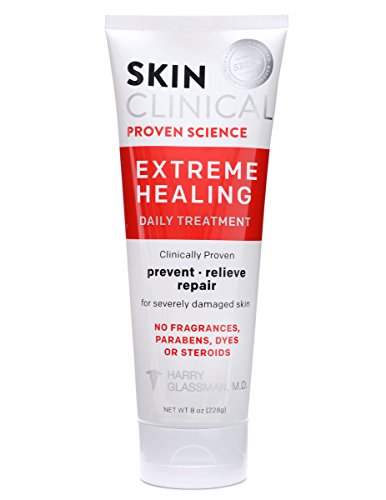 Skin Clinical Extreme Healing Lotion for Eczema, Psoriasis, Diabetic Ulcers, Rashes and Dry Skin - Paraben Free Moisturizing Cream to Repair Dry, Damaged, Irritated Skin, 8oz (New 24 Hour Daily Moisturizing)