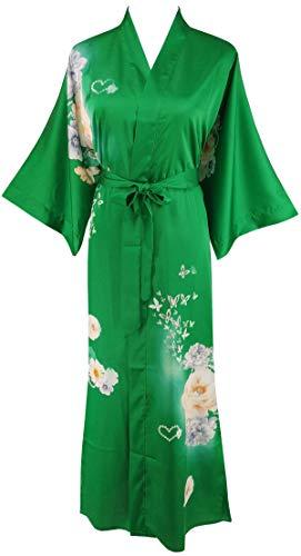 Ledamon Women's Silk Satin Kimono Long Robe - Classic Floral Nightgown Bathrobe Sleepwear (Emerald)