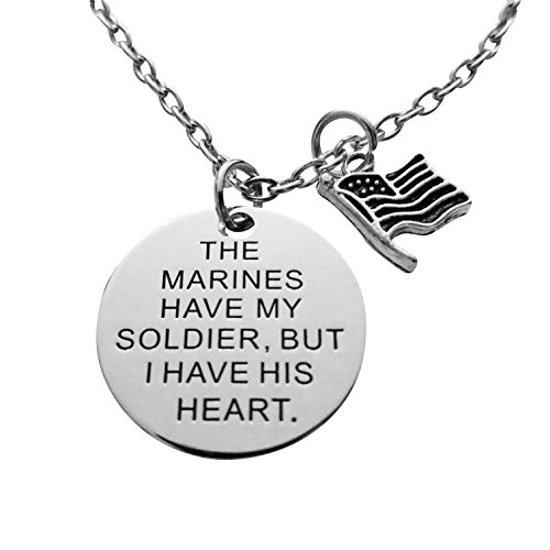 Art Attack Silvertone Marines American Flag Has My Soldier I Have His Heart Love & War Pendant Necklace