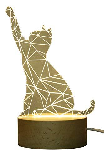 (Innerest 3D Cat Dog Bear Night Light Table Lamp Home Décor Animal Sculpture Hardwood Kids Bed Lighting (Warm- Hardwood, One Size- Cat 1))