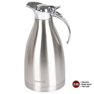 Thermal Carafe, Homecube 65 Oz Big Capacity Coffee Carafe Double-Wall Vacuum Insulated Stainless Steel Coffee Pot ,Jug Flask,Tea Pot Water Pitcher with Press Button