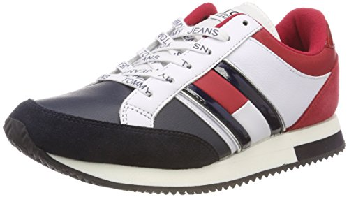 Sneaker Retro da Ginnastica Denim Hilfiger Rwb Donna Basse 020 Casual Scarpe Bianco OnwUqtx