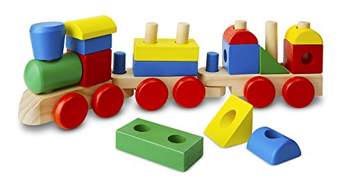 Train Wooden Doug (Melissa & Doug Stacking Train - Classic Wooden Toddler Toy (18 pcs))