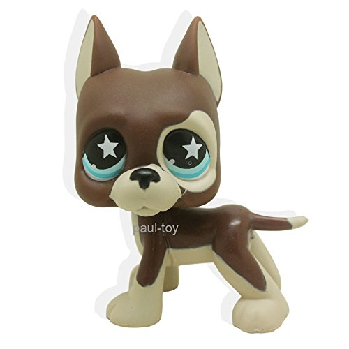 Littlest Pet Shop Great Dane Dog Puppy Brown Chocolate STAR Blue Eyes LPS #817 (Littlest Pet Shop Brown Cat)