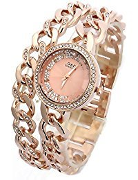 ose Gold Crystal Quartz Dual Links Bangle Watch Best Gift for Women, 30mm (Date President White Gold Oyster)