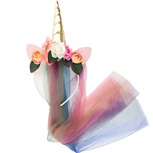 Kitsch Womens Halloween Party Costume Headbands for Cute, Quick and Easy Dress Up (Unicorn Flower Headband with Rainbow Tulle Veil)]()