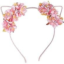 Ztl Fabric Flower Cat Ears Headband Elegant Women Girl Hairband Hair Accessories