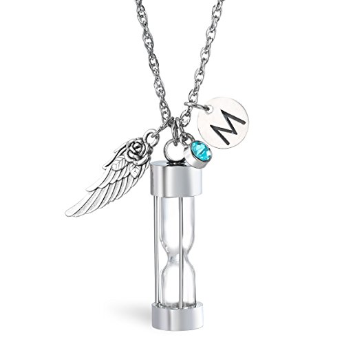 - Glimkis Hourglass Cremation Jewelry for Ashes Angel Wing Initial Urn Necklace with Birthstone Ashes Holder Keepsake