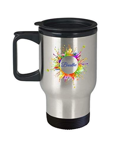 Breathe Coffee Mug Gift - Just Breathe - Inhale Exhale Breath Mindfulness Meditation by Friend Yourself