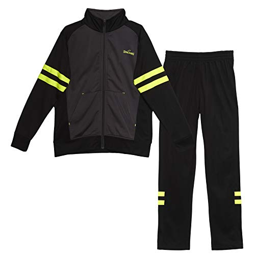Spalding Boys On The Court Tricot Athletic Two-Piece Tracksuit Set Black/Yellow 14