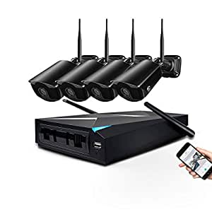 JOOAN Wireless Security Camera System,4 Channel 1080p HD Video Surveillance Cameras 4x2MP WiFi CCTV Camera Outdoor/Indoor Network IP Cameras with NVR