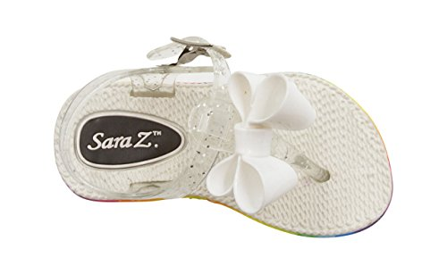 Sara Z Toddler Girl's Jelly Thong Slingback Flat Sandal With Chiffon Blossom With Bow 9/10 White (Blossom Beaded)