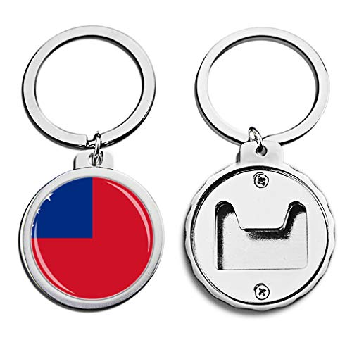 (The Independent State of Samoa National Flag Bottle Opener Keychain Mini Bottle Cap Opener Keychain Creative Crystal Stainless Steel Key Chain Travel Souvenirs)